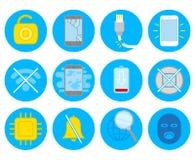 Placez avec des icônes de smartphone de réparation illustration stock