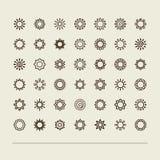 Placez avec des icônes - le soleil Image stock