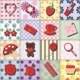 Placez avec des objets de dame sur le fond de patchwork Photos libres de droits