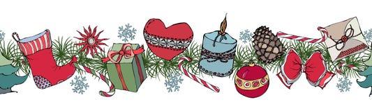 Placez avec des objets de Noël Guirlande, brosse sans fin Image stock