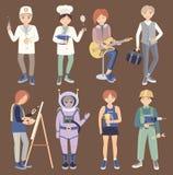 Placez avec des personnes de différentes professions illustration stock