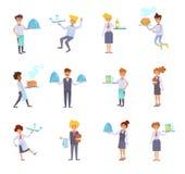 Placez avec des serveurs Vecteur cartoon illustration stock