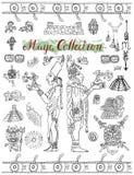 Placez avec des symboles mystiques maya, des icônes et des personnes indiennes Photos libres de droits