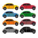 Placez avec des voitures de vintage, style plat Images libres de droits