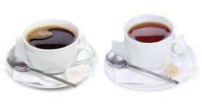 Placez avec différentes cuvettes de café et de thé image libre de droits
