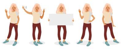 Placez avec différentes poses et gestes d'isolement sur le fond blanc illustration stock