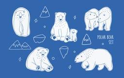 Placez avec différents ours blancs blancs Tiré par la main, collection de vecteur de griffonnage illustration stock