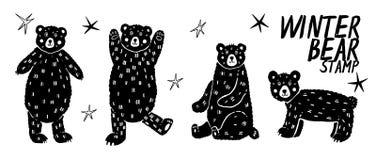 Placez avec différents ours blancs blancs Tiré par la main, collection de vecteur de griffonnage illustration libre de droits