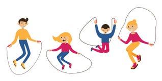 Placez avec la famille sautant avec la corde de saut, d'isolement sur le blanc Caractères plats avec les visages heureux Illustra Photo stock