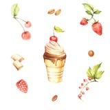 Placez avec la glace et les ingrédients Illustration d'aquarelle de dessin de main Photo stock