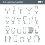 Placez avec la ligne mince icônes avec le genre différent de verres Illustration Stock