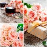 Placez avec le bouquet des roses roses et de deux verres de vin rouge Photo stock