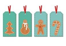 Placez avec le Joyeux Noël et le cadeau de vintage de bonne année étiquette illustration stock