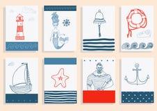 Placez avec le marin, phare, sirène, bateau et Photos libres de droits