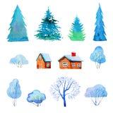 Placez avec les arbres, les maisons et les sapins d'isolement d'hiver r illustration libre de droits