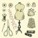 Placez avec les articles de couture Images libres de droits