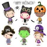 Placez avec les enfants mignons de Halloween illustration de vecteur