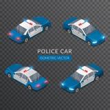 Placez avec les icônes plates de voiture de police avec la sirène Image libre de droits