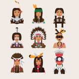 Placez avec les portraits indiens d'homme Divers style d'habillement - Apaches, Navajo, cheerokee, iroquois Image libre de droits