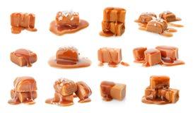 Placez avec les sucreries délicieuses de caramel photo libre de droits