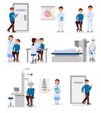 Placez avec les travailleurs médicaux de l'hôpital ophtalmique et les patients dans différentes situations Professionnels au trav Photo stock