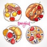 Placez avec quatre petits déjeuners différents illustration stock