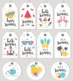 Placez bonjour l'été Étiquettes et cartes de cadeau Image libre de droits