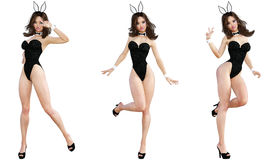 Placez Bunny Girl Longues pattes de femme sexy Chaussures rouges de maillot de bain Photos stock