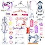 Placez, collection d'éléments de couture d'aquarelle illustration libre de droits