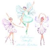 Placez, collection de danseurs classiques d'aquarelle avec des illustrations d'ailes de papillon illustration libre de droits