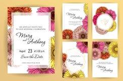 Placez d'épouser le Gerbera de fleurs de carte d'invitation Calibre de conception d'invitation du mariage A5 sur le fond blanc Ve illustration libre de droits