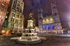 Placez D'Armes la nuit - Montréal, Canada photo libre de droits