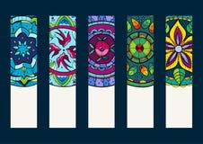 Placez 1 de bannières, avec les mandalas tirés par la main Images stock