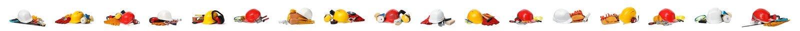 Placez de beaucoup de différents outils de construction sur le blanc Conception de banni?re photo stock