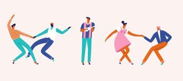 Placez de danser et de jouer des personnages de dessin animé de couples de musique dans le vecteur dans le style de rockabilly de illustration libre de droits