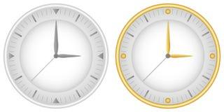 Placez de deux cadrans avec les mains et l'or d'horloge gris Vecteur illustration stock
