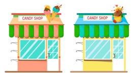 Placez de deux magasins doux dans des couleurs lumineuses sur un fond blanc Illustration plate de style illustration de vecteur