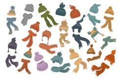 Placez de différent tricotent des chapeaux et des écharpes de chapeaux illustration de vecteur