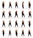 Placez de différentes poses d'une femme de danse, une collection de photos images libres de droits