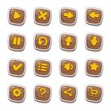 Placez de 25 icônes en bois rondes dans les cadres d'isolement sur le fond blanc pour l'interface utilisateurs de jeu Calibre mob photographie stock