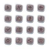 Placez de 16 icônes en pierre dans les cadres blancs d'isolement sur le fond blanc pour l'interface utilisateurs de jeu Calibre m photo stock
