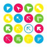 Placez de 16 icônes de flèche avec la direction du nord-ouest Boutons de flèche sur le fond blanc dans cramoisi, bleu, jaune et t illustration de vecteur
