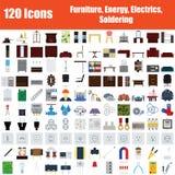 Placez de 120 icônes illustration libre de droits