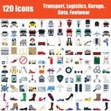 Placez de 120 icônes illustration stock