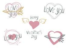 Placez de 5 illustrations de vecteur sur le thème de la Saint-Valentin illustration libre de droits