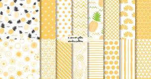 Placez de l'été jaune et des modèles sans couture de fruit Illustration de vecteur illustration de vecteur