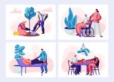 Placez de l'activité et du mode de vie supérieurs de personnes Caractères âgés passe-temps de jardinage, dame âgée sur l'acte méd illustration de vecteur