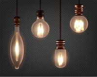 Placez de l'ampoule d'Edison de spirale de cru Rétro lampe réaliste illustration stock