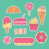 Placez de l'autocollant doux - crème glacée, beignet, gâteau, petit gâteau illustration de vecteur