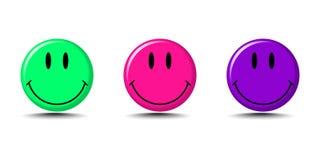 Placez de l'emoji de sourire dans des couleurs modernes avec l'ombre sur le fond vide illustration stock